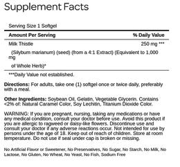 Milk Thistle 4:1 Extract 1000 mg (Silymarin)